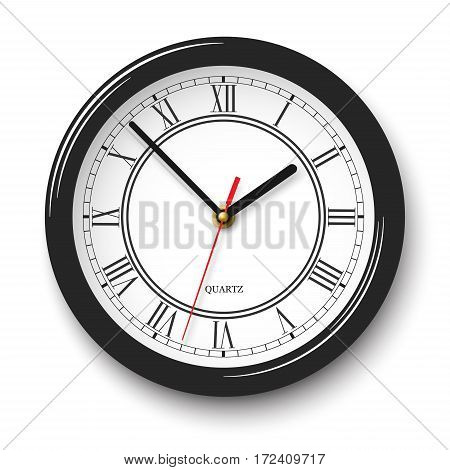 Vector noble wall clock with roman numerals in black glossy body with soft shadow isolated on white background