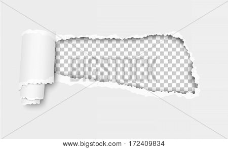 Vector ripped hole in white sheet of paper with soft shadow and checkered background in the resulting window