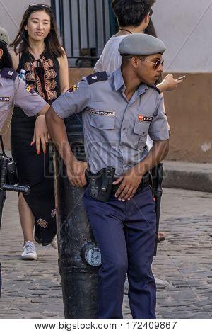 La Havana Cuba - December 26 2016: police officer on street portrait cuban series