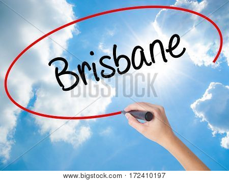 Woman Hand Writing Brisbane  With Black Marker On Visual Screen