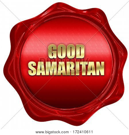 good samaritan, 3D rendering, red wax stamp with text