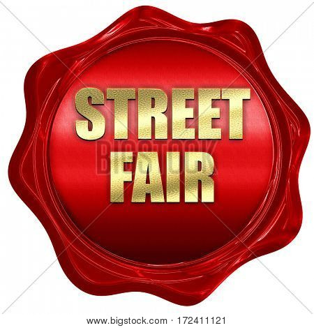 street fair, 3D rendering, red wax stamp with text