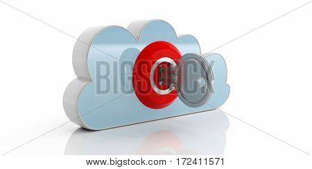 Key And Lock On A Cloud On White Background. 3D Illustration