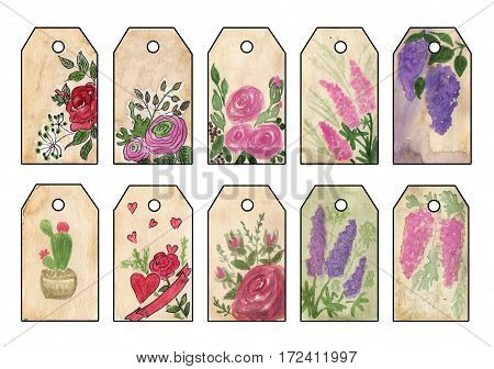 Set of tags with retro watercolor flowers. Set of vintage tags for design business cards invitations