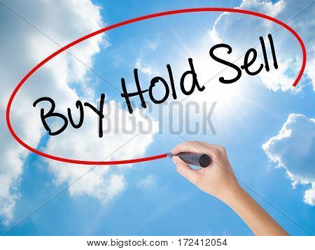 Woman Hand Writing  Buy Hold Sell With Black Marker On Visual Screen