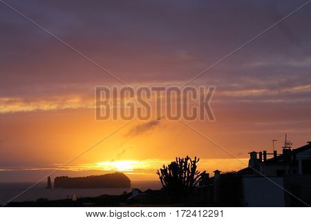 Sunset on various islands of the Azores