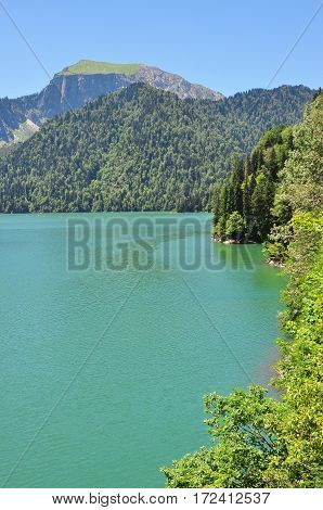 blue lake Ritsa in Abkhazia July summer 2016
