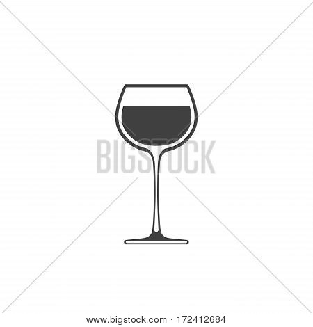 Goblet of wine icon wineglass placed on white background
