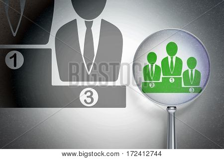 Finance concept: magnifying optical glass with Business Team icon on digital background, empty copyspace for card, text, advertising, 3D rendering