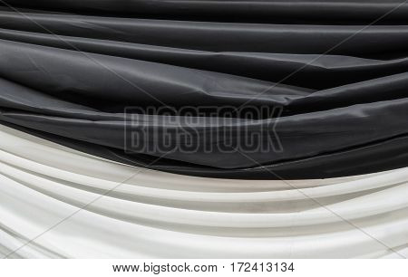 Closeup to Black and White Fabric in Funeral Ceremony Background