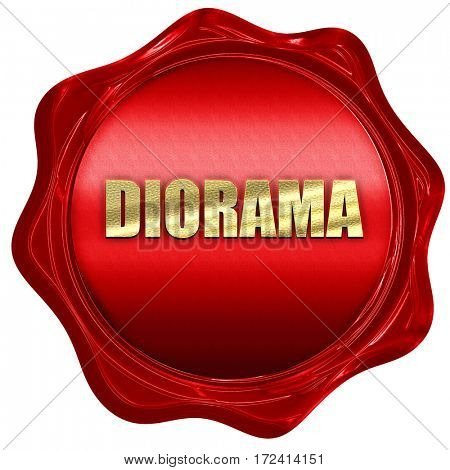 diorama, 3D rendering, red wax stamp with text