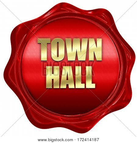 town hall, 3D rendering, red wax stamp with text