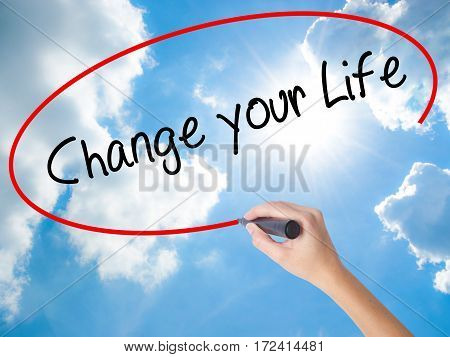 Woman Hand Writing Change Your Life With Black Marker On Visual Screen