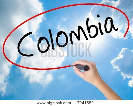 Woman Hand Writing Colombia With Black Marker On Visual Screen
