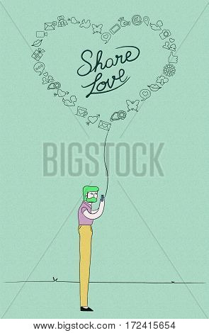 Man On Phone For Social Network Love Concept