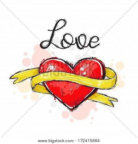 Vector illustration of red heart with golden yellow ribbon and text Love in vogue style. Valentines day romantic background