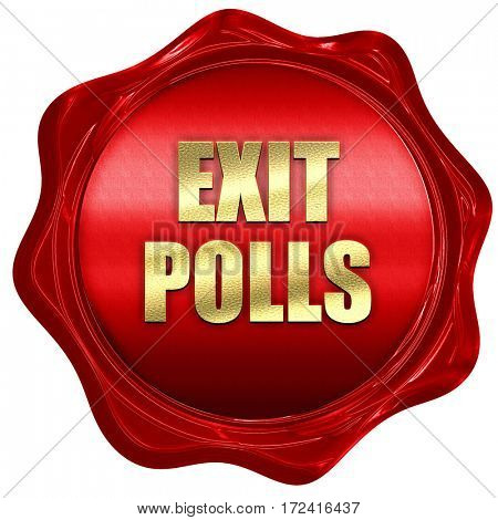 exit polls, 3D rendering, red wax stamp with text