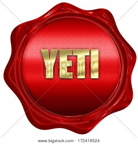 yeti, 3D rendering, red wax stamp with text