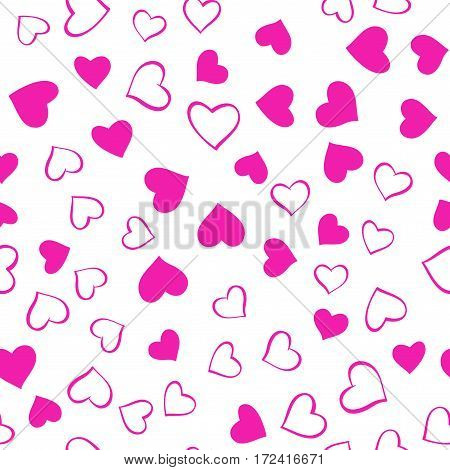 Romantic pink pattern. Vector seamless pattern with hand drawn pink hearts on white background