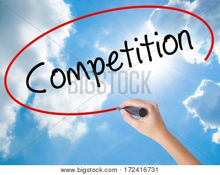 Woman Hand Writing Competition  With Black Marker On Visual Screen