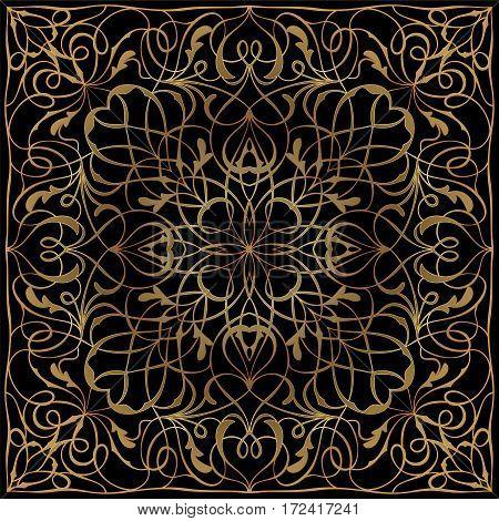 Black Handkerchief With Golden Ornament
