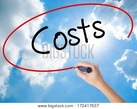 Woman Hand Writing Costs  With Black Marker On Visual Screen