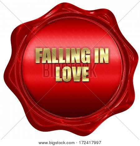 falling in love, 3D rendering, red wax stamp with text