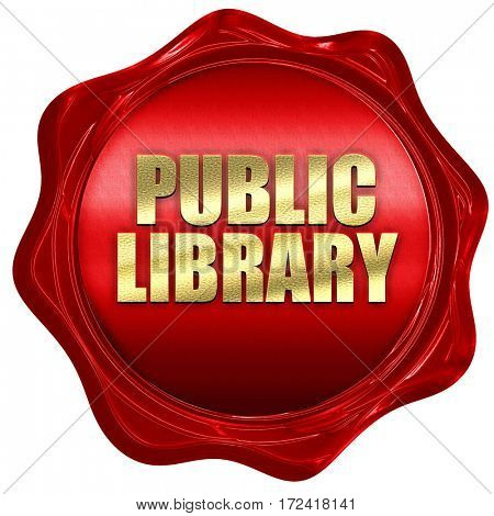 public library, 3D rendering, red wax stamp with text