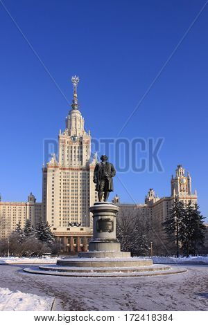 Moscow university building and monument of founder