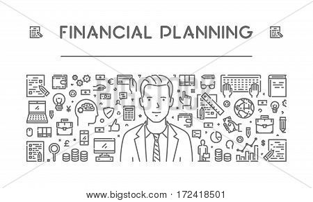 Vector line concept of financial planning. Modern linear banner.