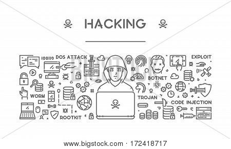 Vector line concept of hacking. Modern linear banner.