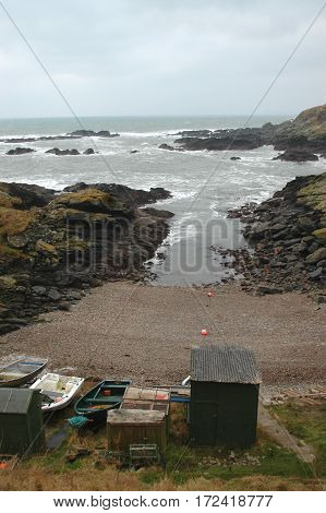 Natural Harbour of the North Sea, at Old Portlethen, Aberdeenshire, Scotland