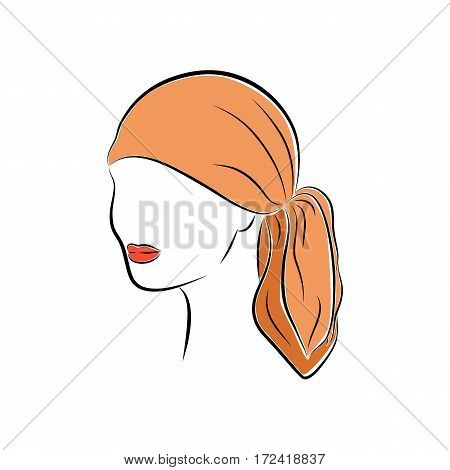 Close up portrait. Beautiful young woman in an orange head bandana. Bright lips painted on her face. Vector sketch in hand drawing style for your design. EPS10 format.