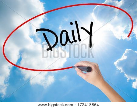 Woman Hand Writing Daily With Black Marker On Visual Screen