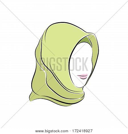 Close up portrait. Beautiful muslim woman in hijab on her head. Pink lips painted on her face. Vector sketch in hand drawing style for your design. EPS10 format.