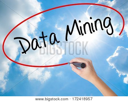 Woman Hand Writing  Data Mining With Black Marker On Visual Screen