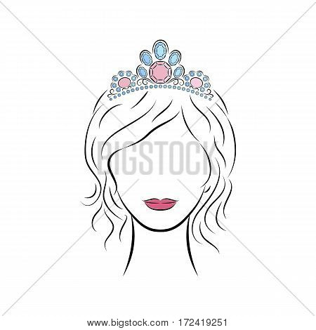 Close up portrait. Beautiful young girl wearing a crown or tiara with precious stones on her head. Bright lips painted on her face. Vector fashion sketch in hand drawing style for your design. EPS10 format.