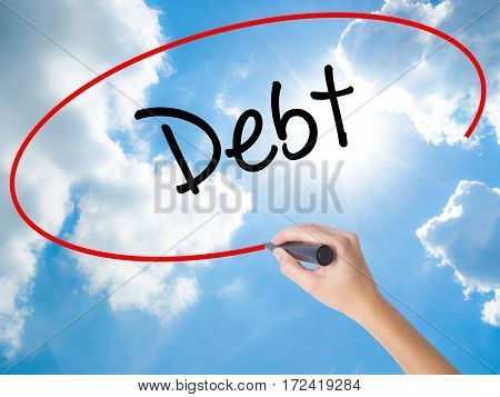 Woman Hand Writing Debt With Black Marker On Visual Screen
