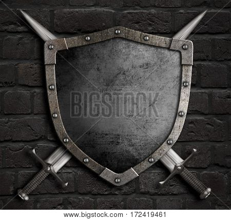 medieval shield with crossed swords over armour 3d illustration