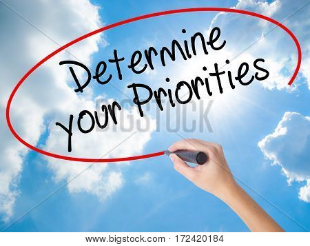 Woman Hand Writing Determine Your Priorities With Black Marker On Visual Screen