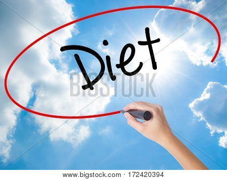 Woman Hand Writing Diet (in Portuguese)  With Black Marker On Visual Screen