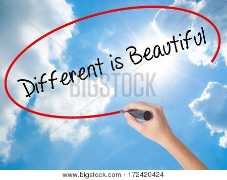 Woman Hand Writing Different Is Beautiful With Black Marker On Visual Screen