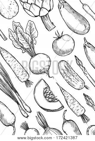 Hand Drawn Vector Illustration - Pattern With Vegetables (carrots, Potatoes, Tomatoes, Asparagus, Ar