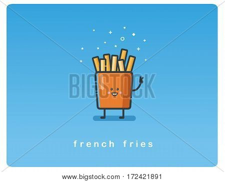 Vector flat icon of french fries funny character
