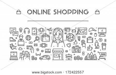 Line web banner for online shopping. Modern linear concept for e-commerce.