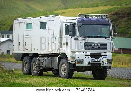 ICELAND - September 18, 2015: MAN TGA 33.430 D20 Common Rail Action Mobil 6x6 Ultimate Overland Truck.