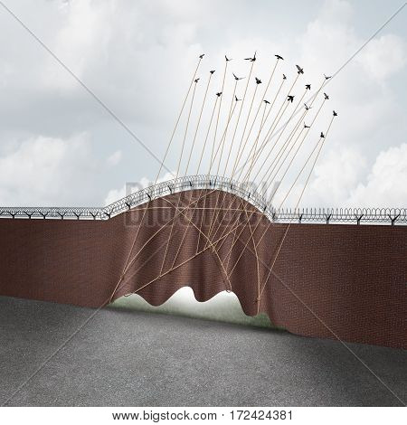 Open border concept as a brick wall being lifted up by a group of flying birds as a surreal idea for liberty and government policy on immigration and refugee claims with 3D illustration elements.