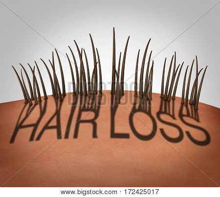 Hair loss and balding medical concept as a receding hairline with text as a shadow with thinning follicles on a mostly bald head as a 3D illustration.