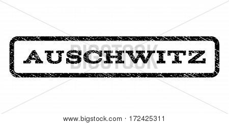 Auschwitz watermark stamp. Text caption inside rounded rectangle with grunge design style. Rubber seal stamp with dirty texture. Vector black ink imprint on a white background.