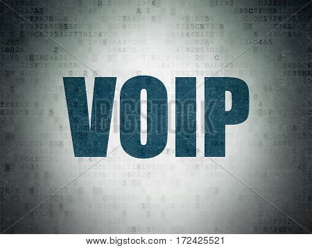 Web design concept: Painted blue word VOIP on Digital Data Paper background